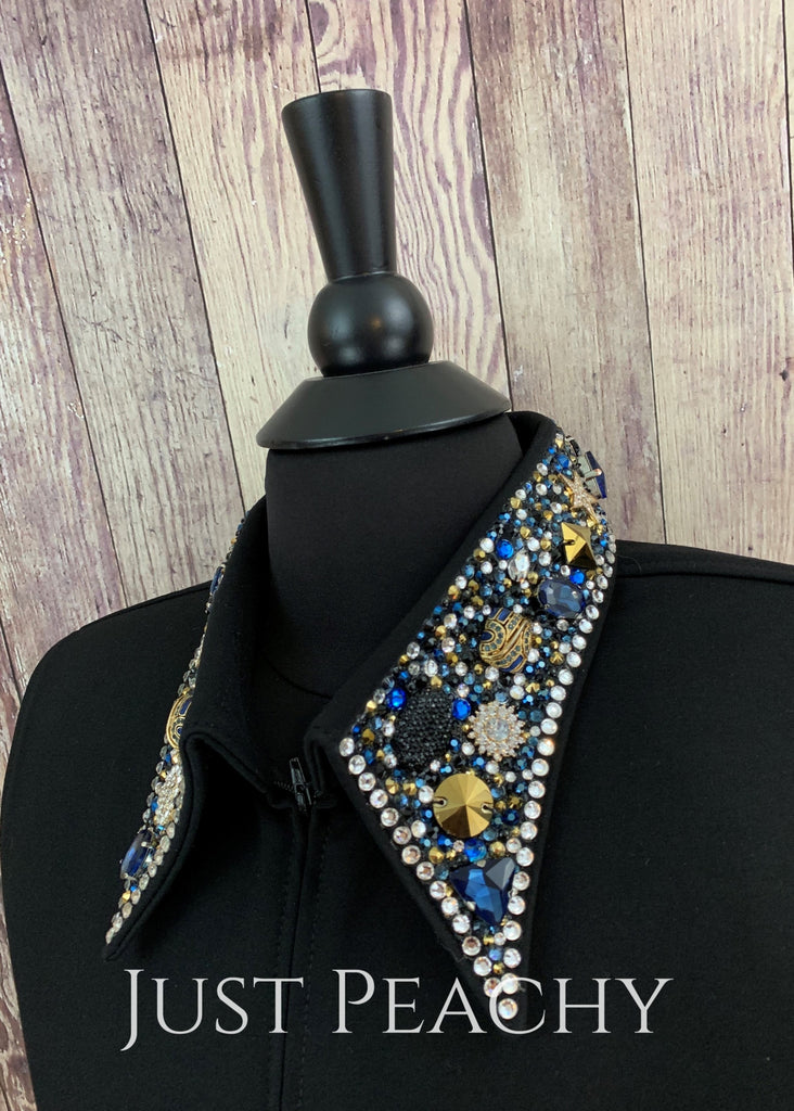 The Simply Perfect Horse Show Shirt In Black With Blues And Gold By Deb Moyer ~ Ladies Large Western