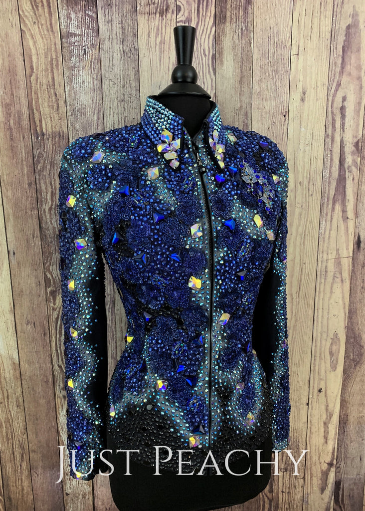 Royal Blue Airbrushed And Beaded Jacket By Trudy Black Label ~ Ladies Large Western Horse Show