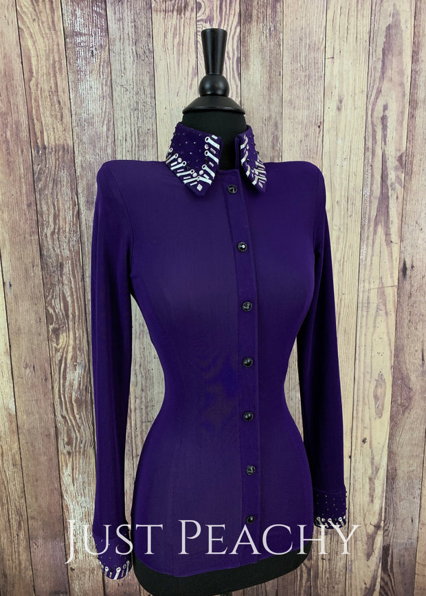 Purple And Silver Day Shirt By A Winning Attitude ~ Ladies Xxs/xs