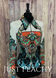 Multi-Color Jacket By Nancy Vincent With Golden West Pad ~ Ladies Small Western Horse Show