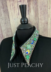 The Simply Perfect Horse Show Shirt In Black With Mint And Crystal Ab By Deb Moyer ~ Ladies Medium
