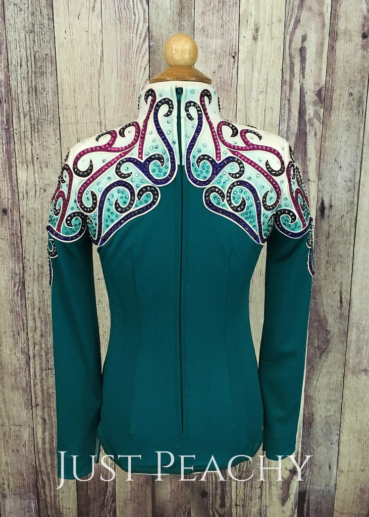 Teal And Jeweltone Small-Fry Horsemanship Outfit By Berry Fit ~ Youth Medium Western With Chaps