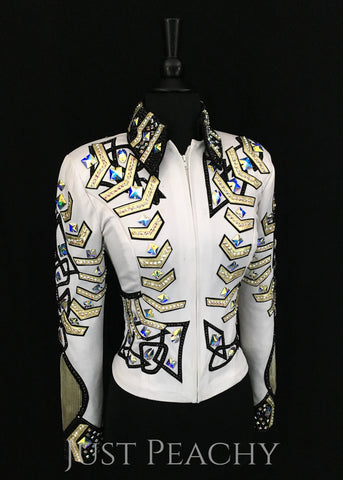 Western horse show jacket by Show Grace in white, gold and black