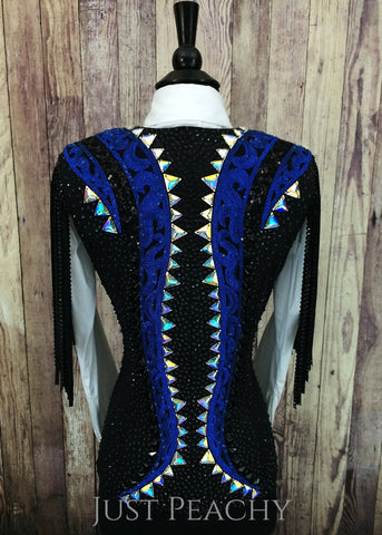 Black and Royal Blue Fringe Vest by KLS Designs ~ Ladies Small
