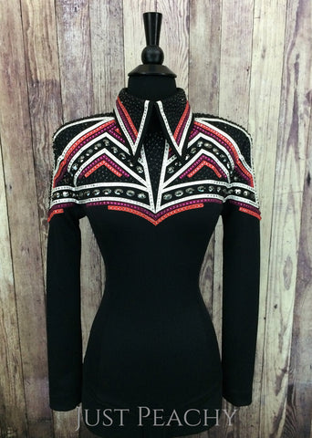 Black, Coral and Raspberry Horsemanship Shirt by KLS Designs ~ Ladies Small