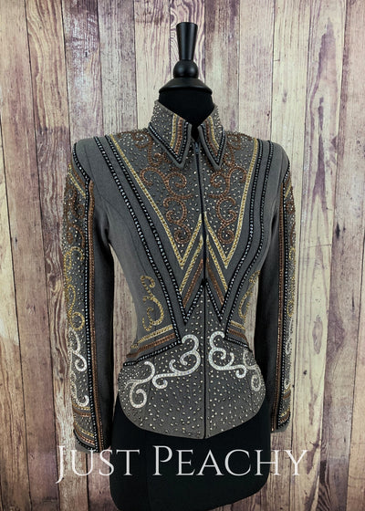 Gray Copper And Gold Showmanship Outfit By Kls Designs ~ Youth Xl Western