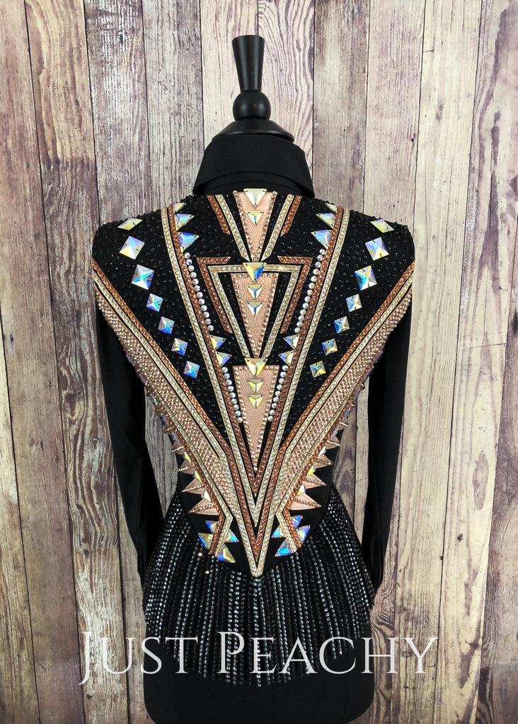 Rose Gold Copper And Black Fringe Vest By Kls Designs ~ Ladies Xs/small Western Horse Show