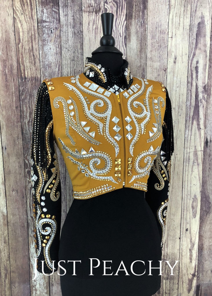 Gold White And Black Horsemanship Shirt Bolero Vest Set By Lenka Fogltonova ~ Ladies Small Western