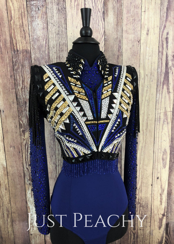 Royal Blue Gold White And Black Bolero Vest Set By Lindsey James Show Clothing ~ Ladies Xs/small
