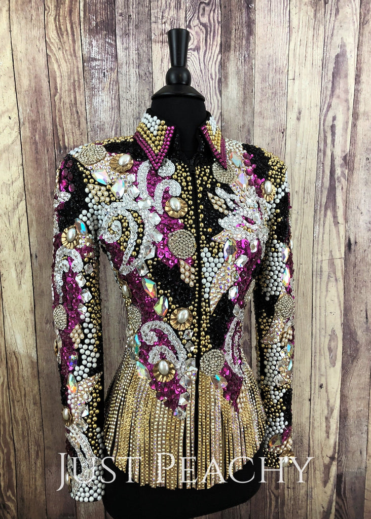 Fuchsia Gold White And Black Fringe Riding Jacket By Lindsey James ~ Ladies Xs/small Western Horse