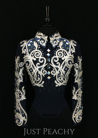 Lindsey James Show Clothing western horsemanship outfit in navy blue and white