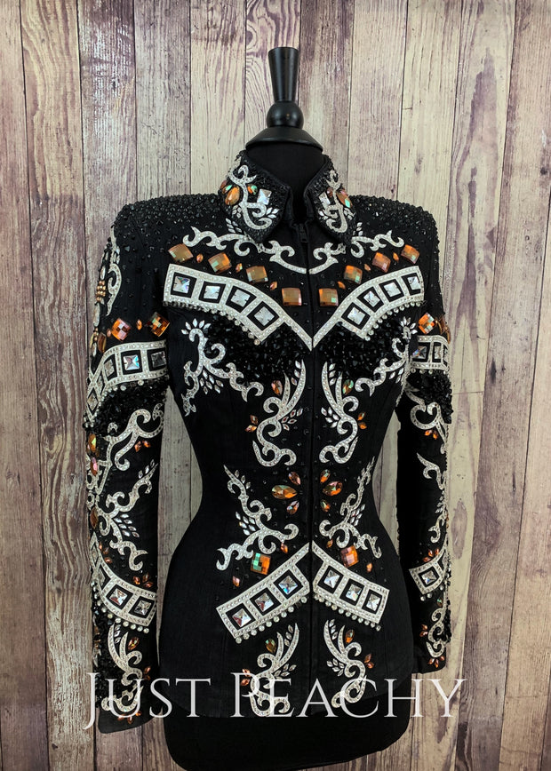 Copper, White and Black Showmanship Jacket by Lindsey James ~ Ladies Medium/Large