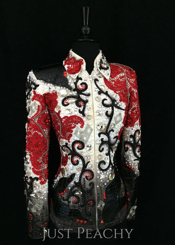 Lindsey James Show Clothing showmanship jacket in red, white and black