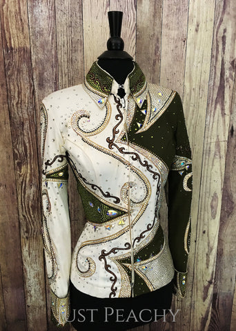 Lindsey James Show Clothing showmanship outfit in olive green, gold and ivory