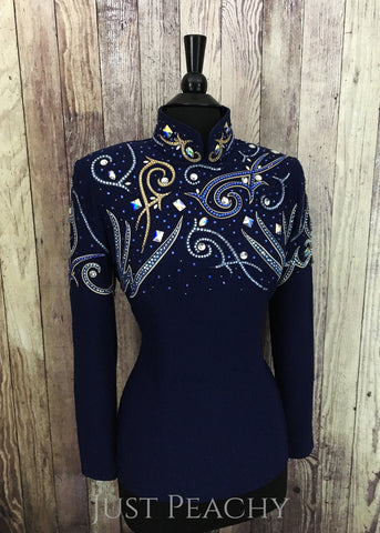 Navy Blue and Sand Horsemanship Shirt by Cassidy's Casuals ~ Ladies Medium/Large - Just Peachy
