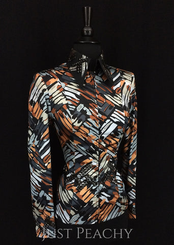Black, Gray and Tan Jacket by On Pattern Designs ~ Ladies XS - Just Peachy
