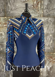 Navy Blue and Bronze Horsemanship Shirt by On Pattern Designs ~ Ladies Large