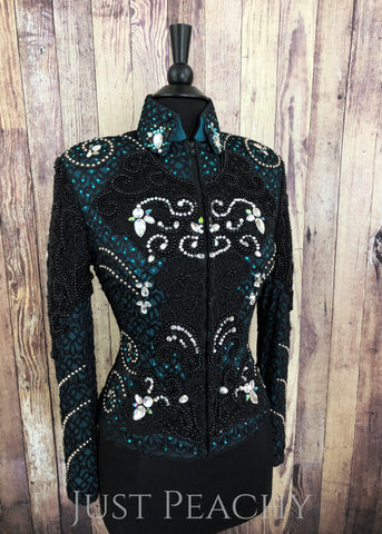 Teal and Black Beaded Riding Jacket by Paintedj ~ Ladies Small