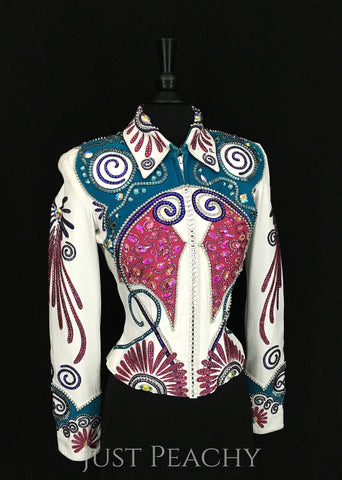 Paula's Place western horse show jacket in white, teal and fuchsia