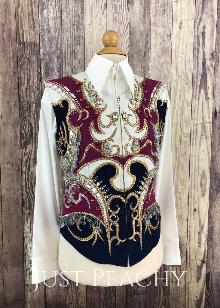 Navy Fuchsia And White Vest By Paulas Place ~ Youth Large/xl Western Horse Show