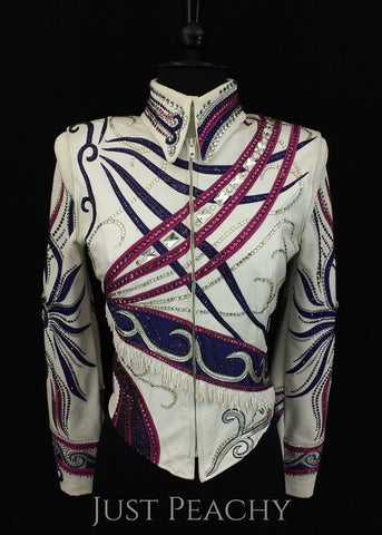 Paula's Place horse show outfit in purple, fuchsia and white