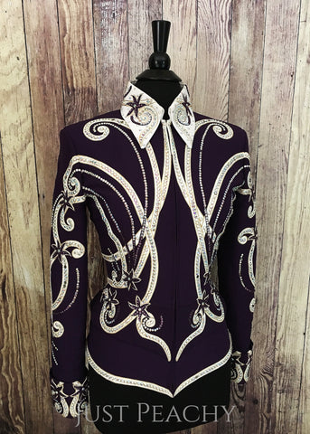 Deep Plum, White and Gold Showmanship Outfit by Berry Fit ~ Ladies Small/Medium - Just Peachy