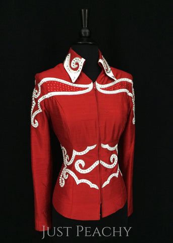 Red and White Showmanship Suit by Showing Style ~ Ladies XS/Youth XL - Just Peachy