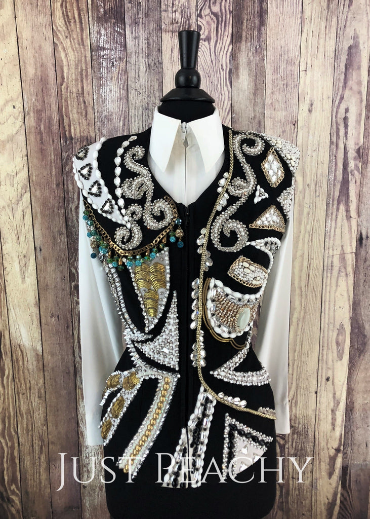 Black White And Gold Vest By Showtime ~ Ladies Medium Western Horse Show
