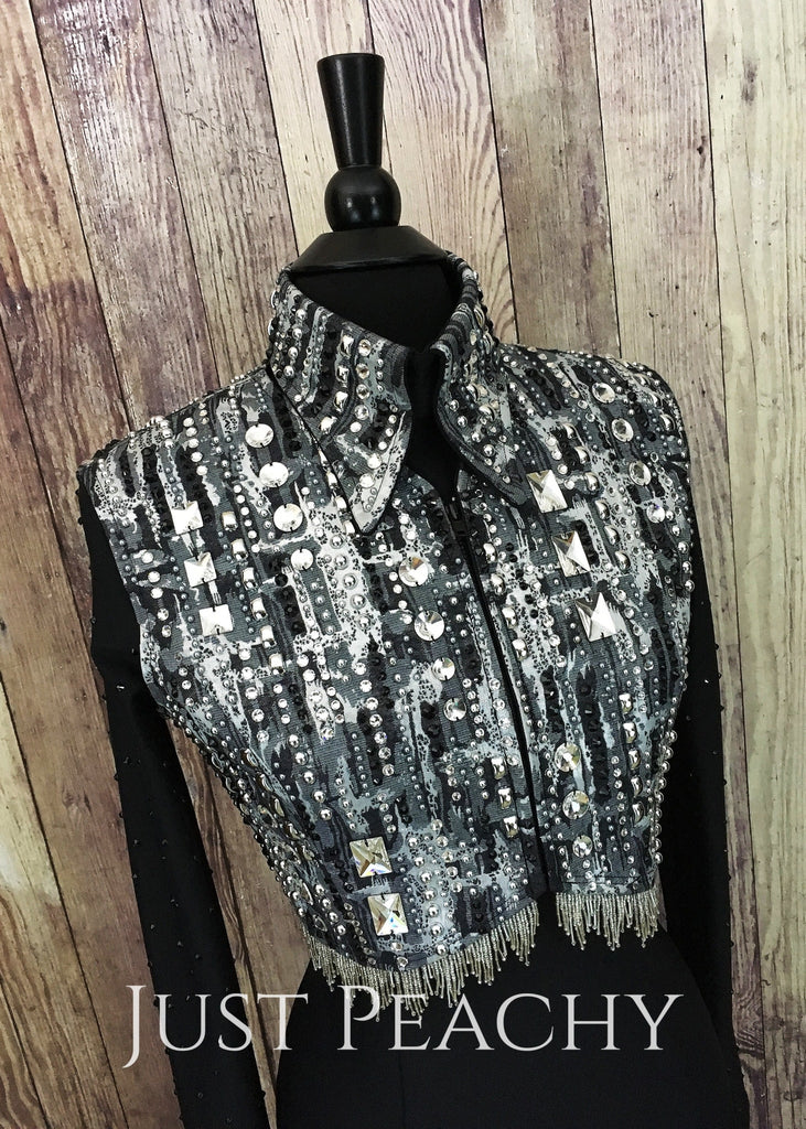Silver And Black Bolero Vest Set By A Winning Attitude Show Apparel ~ Ladies Medium Western Horse