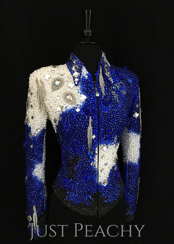 Sapphire Blue, White and Black Jacket by Trudy Black Label ~ Ladies XS - Just Peachy
