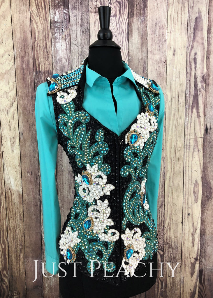 Teal White Mint And Gold Vest Set By Trudy ~ Ladies Small Western Horse Show