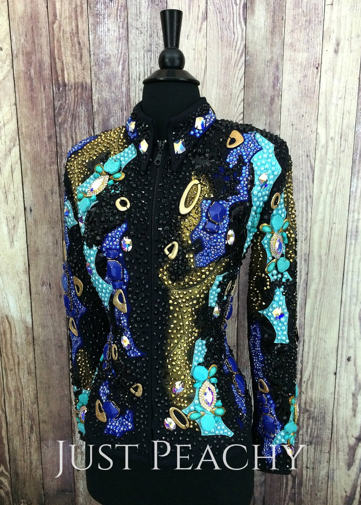 Turquoise Gold Royal Blue And Black Jacket By Stella ~ Ladies Small Western Horse Show
