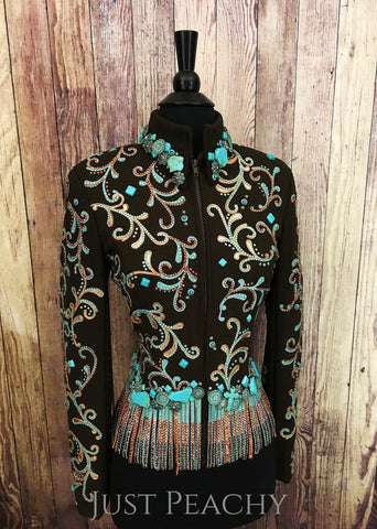 Chocolate, copper and turquoise fringe jacket by Just Pam