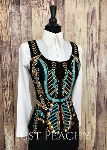 Western Horse Show Vest by Creative Collections by Just Pam - Just Peachy Show Clothing