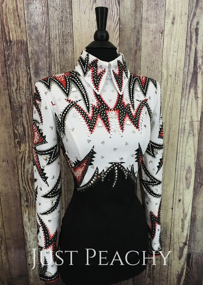 White Red And Black Horsemanship Shirt By Dry Creek Designs ~ Ladies Small Western