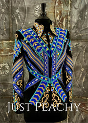Royal Blue, Aqua, Gold and Black Showmanship/All-Day Jacket by DarDar8 Designs ~ Ladies XS