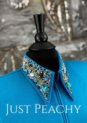 The Simply Perfect Horse Show Shirt In Turquoise With Jet And Golds By Deb Moyer ~ Ladies Medium