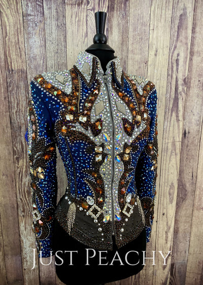 Chocolate Silver And Royal Blue Jacket By Trudy ~ Ladies Xs Western Horse Show