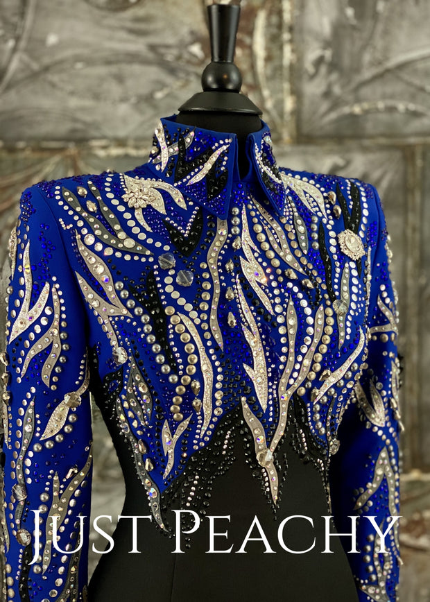 Silver, Royal Blue and Black Horsemanship Shirt by Dry Creek Designs ~ Just Peachy Show Clothing