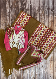Fuchsia Whiskey And Sand Small Fry Ensemble By Show Grace ~ Youth Medium Western Horse Outfit With