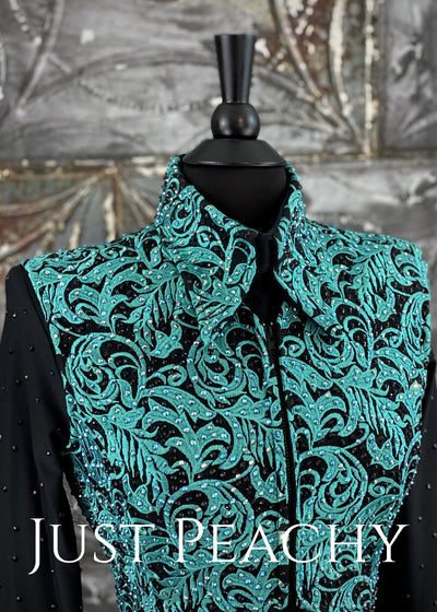 Black and Teal Bolero Vest Set by A Winning Attitude ~ Ladies Small