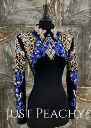 Crystal AB, Cobalt Blue and Black Horsemanship Shirt by DarDar8 Designs ~ Ladies XS
