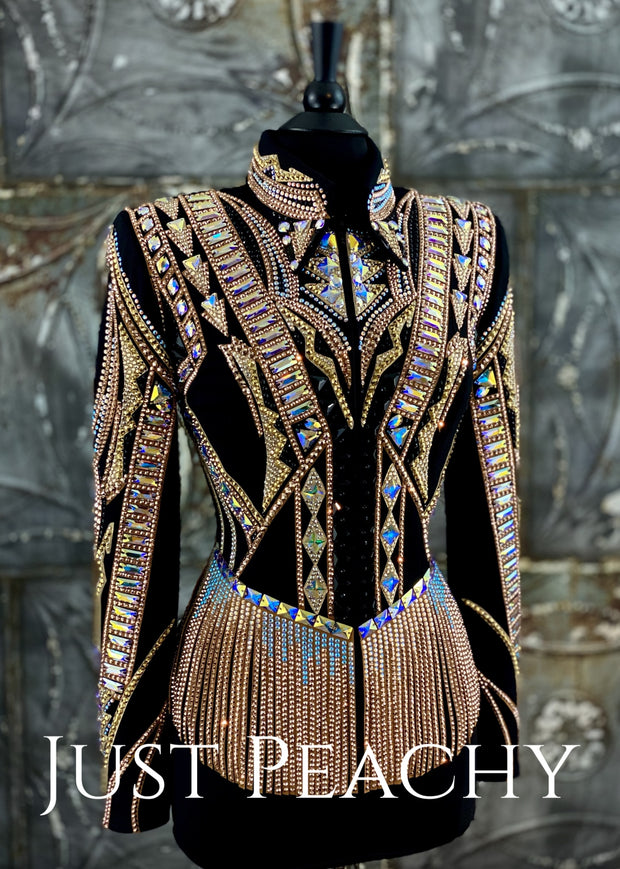 Rose Gold, Black and Gold Riding Jacket with Fringe by DarDar8 Designs ~ Ladies Medium