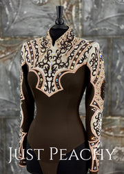Chocolate, Copper and Ivory Horsemanship Shirt by Lindsey James ~ Ladies Medium