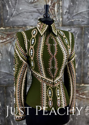 Sage Green and Gold Riding Outfit with Chaps by Dry Creek Designs ~ Ladies Medium