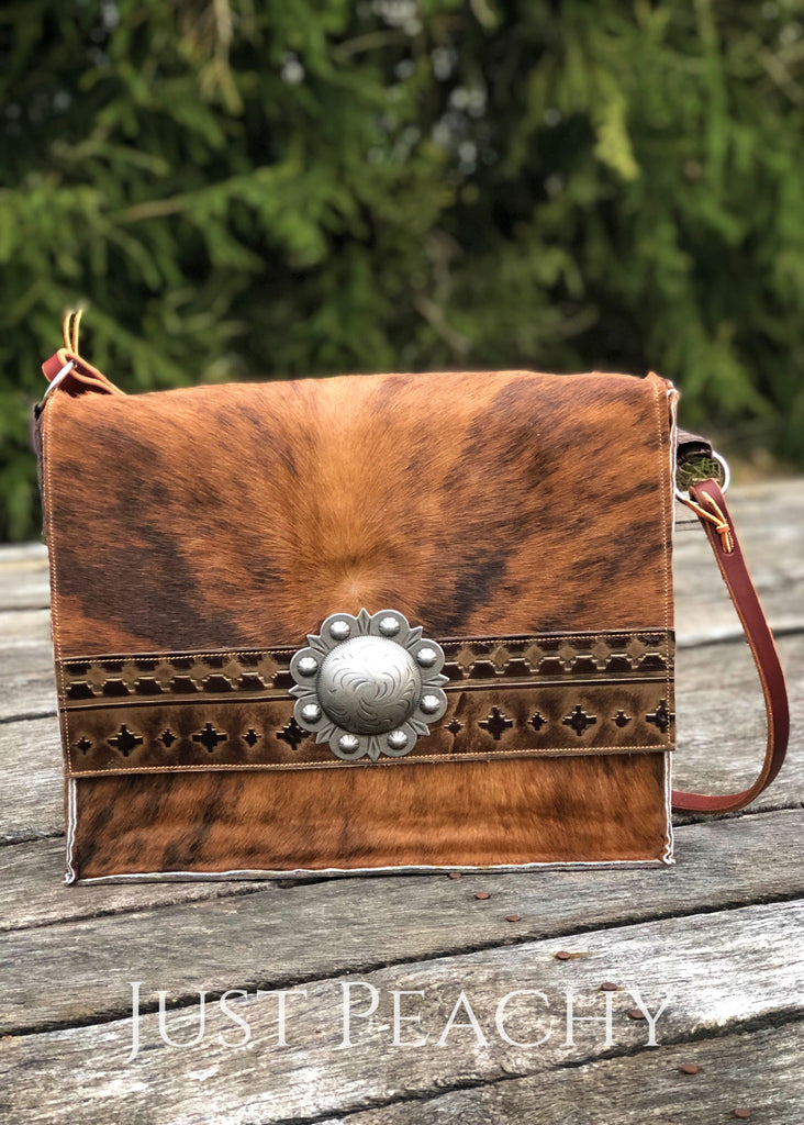 Brindle Cowhide And Aztec Leather Bag Purse