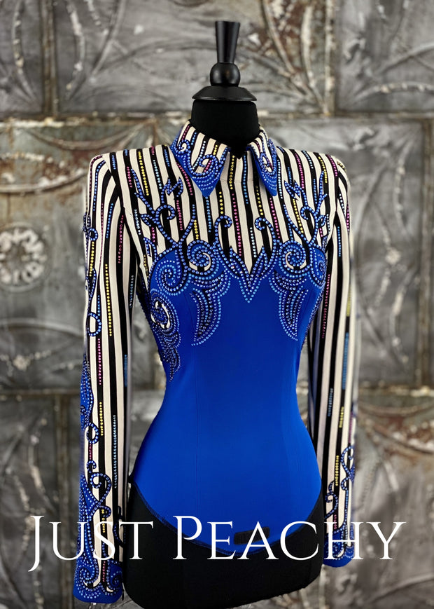 Royal Blue White And Black Pinstripe Horsemanship Shirt By Paulas Place ~ Ladies Xs Western