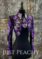 Purple, Silver and Black Horsemanship Shirt by Trudy Black Label ~ Ladies XS