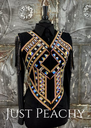 Deb Moyer Gold and Black Fringe Vest ~ Just Peachy Show Clothing