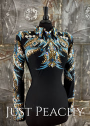 Turquoise, Gold and Black Horsemanship Shirt by Trudy Black Label ~ Ladies Medium